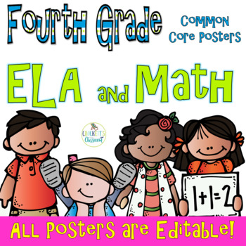 Common Core Fourth Grade ELA and Math Posters-- Melonheadz Edition