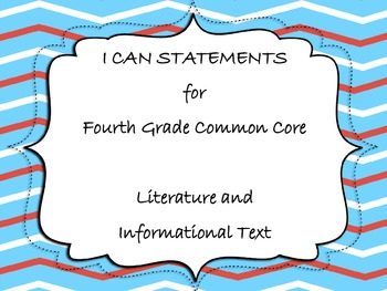 Common Core Fourth Grade I CAN statements (Literature/Informational Standards )