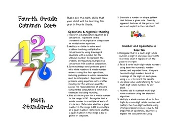 Common Core Fourth Grade Math Parent Brochure
