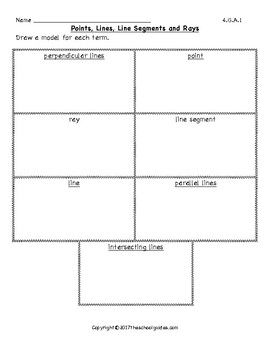 Common Core Fourth Grade Points, Lines, Rays and Angles 4.G.A.1