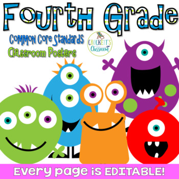 Common Core Fourth Grade Posters (I can...) Monsters Edition