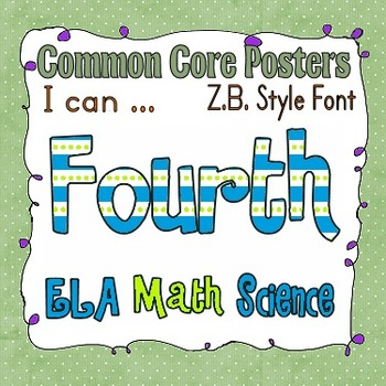 Common Core Fourth Grade Posters Bundle (Zaner Bloser style font)