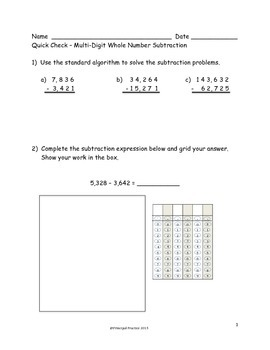 4th Grade Multi-Digit Addition and Subtraction Quick Checks