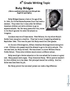 Common Core/PARCC Writing Prompt:  (Ruby Bridges and Dr. Martin Luther King)