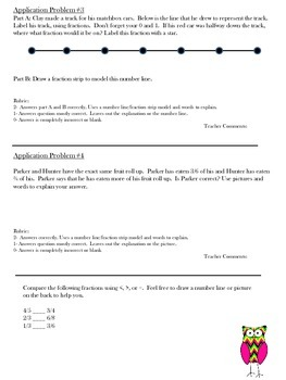 Common Core Fraction Assessment---3.NF.1, 3.NF.2, 3.NF.3