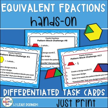 Equivalent Fractions Task Cards Hands On - Differentiated No Prep Printables