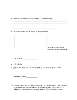 Common Core Fraction Study Guide