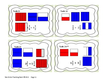 Common Core Fraction Task Cards,  Area Model 5.NF.1 and 5.NF.2