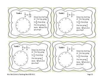Common Core Fraction Task Cards, Pattern Blocks and Clock Faces 5.NF.1 & 5.NF.2