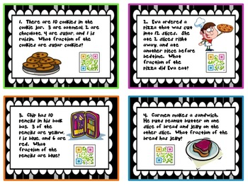 QR - Common Core Fraction Word Problems with QR Codes