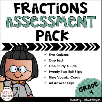 Fractions Assessment Pack Grade 4 - Common Core Aligned