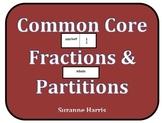 Common Core Fractions & Partitions w/Fraction Shapes Line Plot