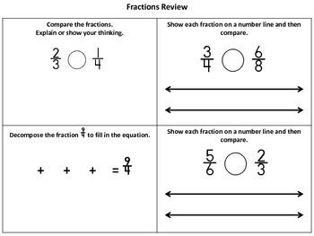 Common Core Fractions Practice Worksheets