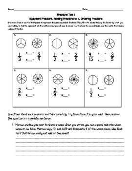 Common Core Fractions Test - Equivalent Fractions, Comparing Fractions to 1/2