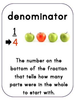 Common Core Fractions Word Wall and Sentence Frames