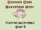Common Core Fractions and Decimals Scavenger Hunt, Grade 5