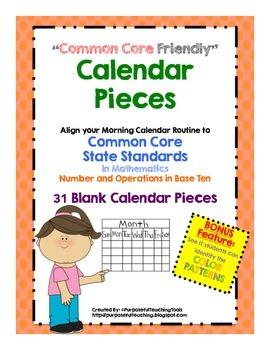 Common Core Math Friendly Calendar Pieces - Blank for Base
