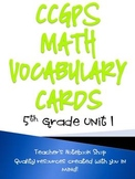 Common Core GPS 5th Grade Math Vocabulary Cards Unit 1