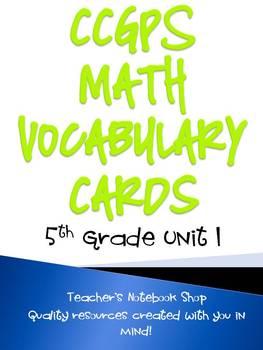 Common Core GPS 5th Grade Math Vocabulary Cards Unit 1