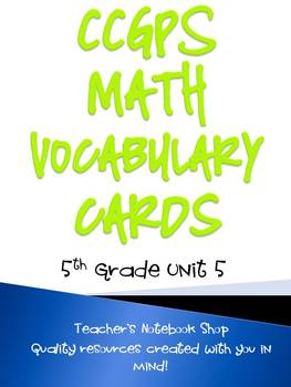 Common Core GPS 5th Grade Math Vocabulary Cards Unit 5
