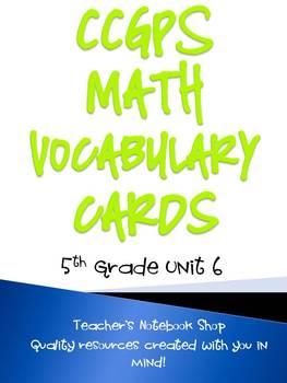 Common Core GPS 5th Grade Math Vocabulary Cards Unit 6