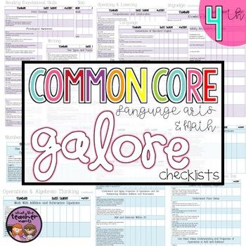 Common Core Galore ELA and MATH {4th Grade Checklist}