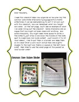 Common Core Galore ELA and MATH 4th Grade Checklist