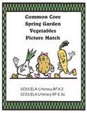 Garden Vegetable Picture Match Common Core