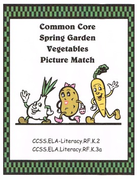 Garden Vegetable Picture Match Common Core