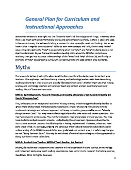 Common Core: General Curriculum Plan for Literacy in the Content Areas