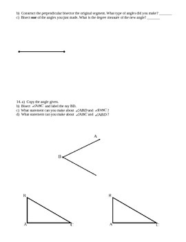 Common Core Geometry - Module 1 Lesson 1-6 Review Packet