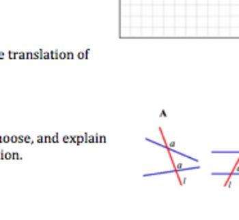 Common Core Geometry Practice & Activity (Translations G.C