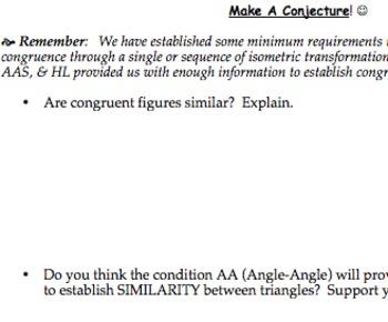 Common Core Geometry Practice (G.SRT.2 G.SRT.3 Similarity Criteria)