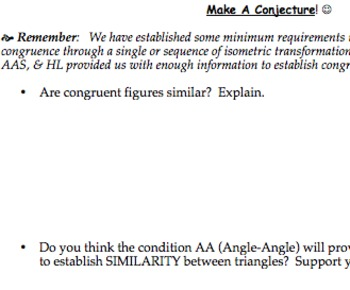 Common Core Geometry Practice (G.SRT.2 G.SRT.3 Similarity