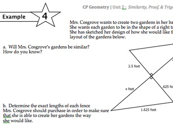 Common Core Geometry Practice (G.SRT.3 & G.MG 1-3 Using Si