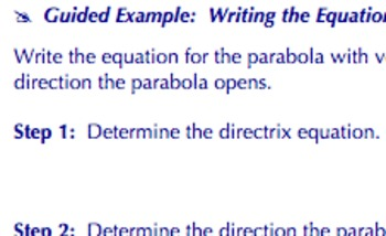 Common Core Geometry Practice (Parabola Equation G.GPE.2)