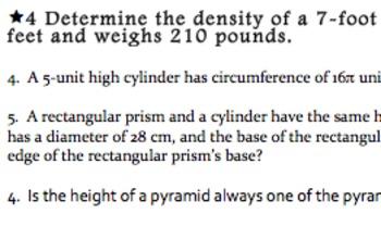 Common Core Geometry Practice Volume & 3-D Figures (G.GMD.