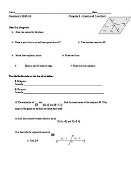 Common Core Geometry Quiz on Basics of Geometry