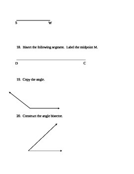 Common Core Geometry Test (Lines & Constructions)