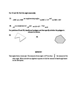 Common Core Geometry Test on Basics of Geometry