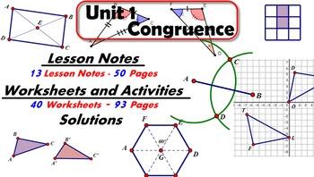 Common Core Geometry Unit #1 Congruence Teaching Materials