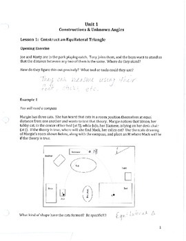 Common Core Geometry Unit 1 Notes Answer Key