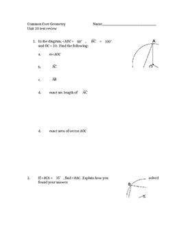 Common Core Geometry Unit 10 Test review