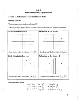Common Core Geometry Unit 2 Notes Answer Key