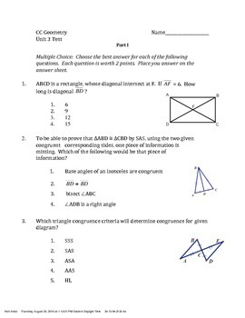 Common Core Geometry Unit 3 Test