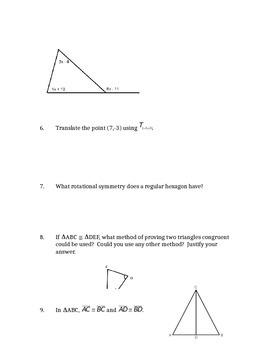 Common Core Geometry Unit 3 Test Review