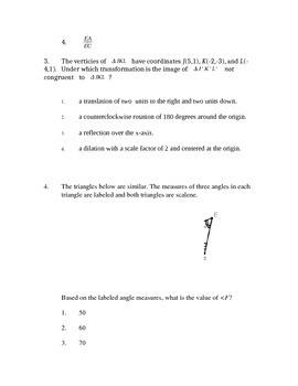 Common Core Geometry Unit 4 Test