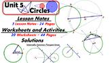 Common Core Geometry Unit #5 Circle Geometry Teaching Materials