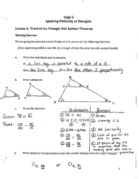 Common Core Geometry Unit 5 Notes Answer Key