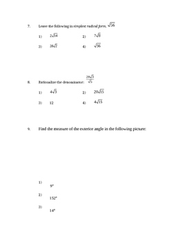 Common Core Geometry Unit 5 Test